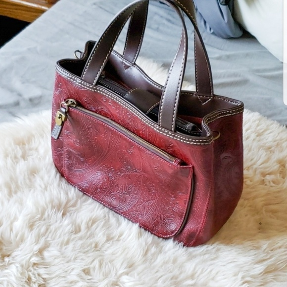 Relic Handbags - Relic wine burgundy Paisley print handbag